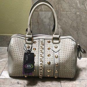 Handbags - NEW Vegan Leather Gray Handbag w/ Gold hardware